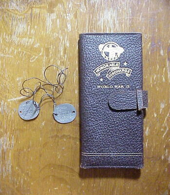 Order Dog Tags (WWII USNR - SV DOG TAGS & Leather SERVICE  RECORD HOLDER Order of Owls)
