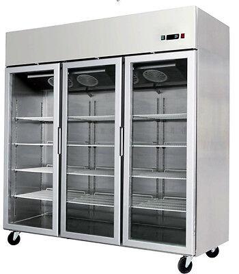 3 Triple Door Commercial Reach In Glass Front Merchandiser Refrigerator Cooler