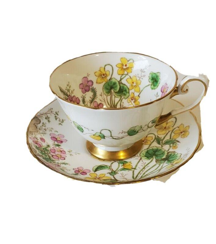 Tuscan Fine English Bone China Alpine Flowers c8864 England teacup and saucer