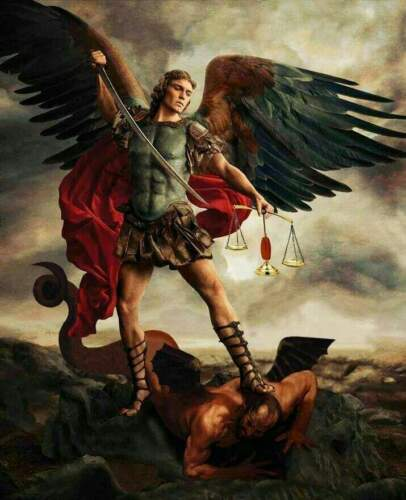 """St Michael The Archangel defeating satan Glossy  8"""" x 10"""" Print ready to frame"""