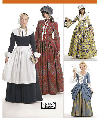 PATTERN for Colonial Pilgrim costume dress Simplicity 3723 Patriot Hat Miss 6-12 - Colonial Costumes For Adults