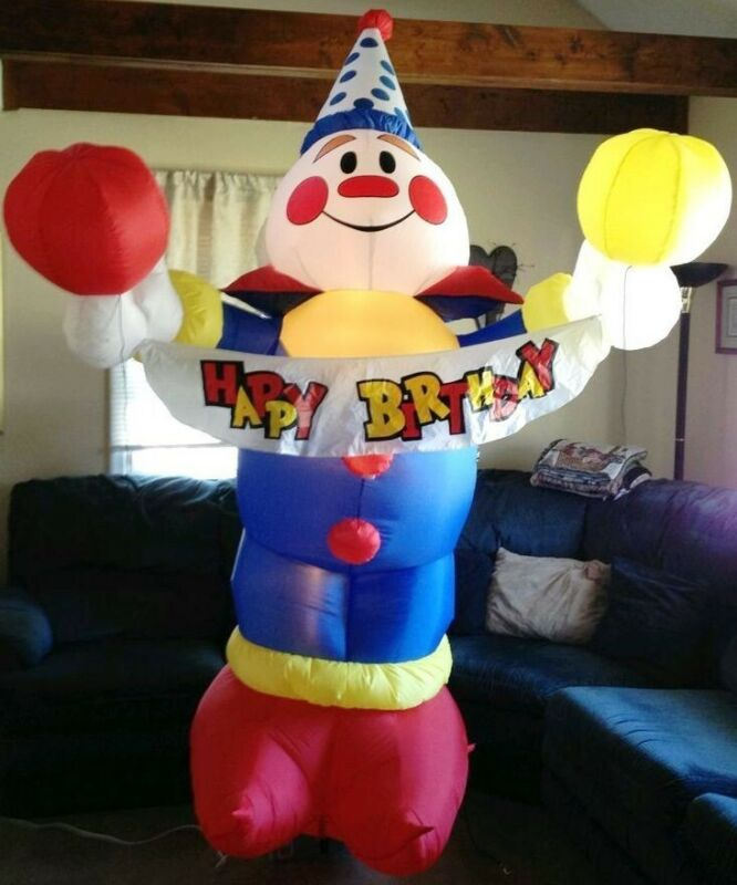 Rare USED Gemmy 8ft Airblown Birthday Party Clown Yard Inflatable #30072