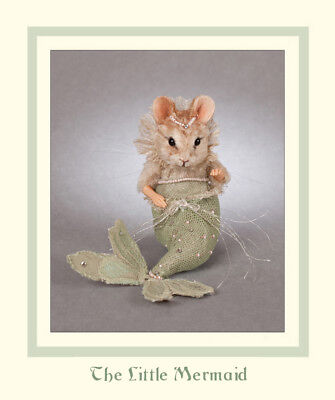 R. John Wright Doll-sized Mermaid Fairy Tale Mouse Collectible Doll Handmade USA