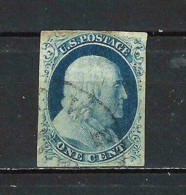 #6B US 1 CENT BLUE FRANKLIN-TYPE #1-IMPERF-USED-N/G-FINE-V/F