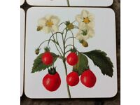 6 STRAWBERRY COASTERS FROM PIERRE-JOSEPH REDOUTE COLLECTION - (BRAND NEW & BOXED)