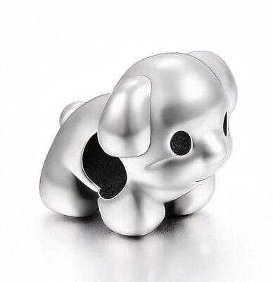 Stainless Steel Puppy Dog Charm Canine European Bead Jewelry for Charm Bracelets](Dog Charms For Bracelets)