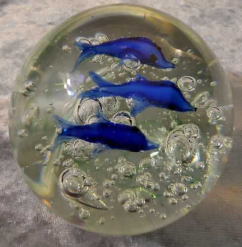 Large Art Glass Blue Fish Bubbles Paperweight - $14.99