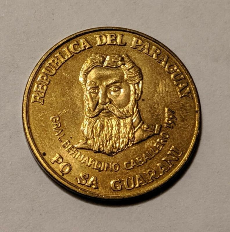 Paraguay 500 Guaranies 1997 KM 195 AU *RARE* General Bernardino Caballero fri