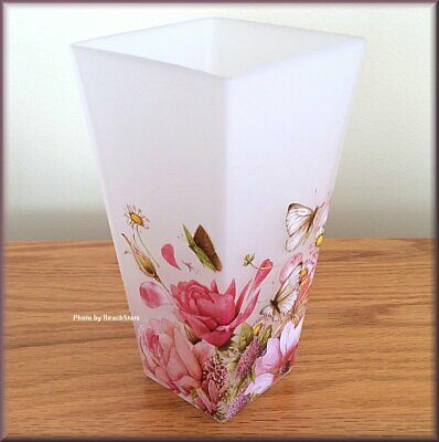 Floral Frosted Glass Vase by Marjolein Bastin Nature's Journey Free U.S. Ship