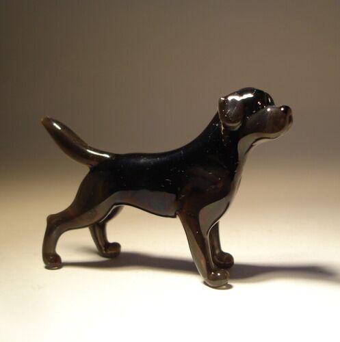 Blown Glass Art Figurine Dog Black LAB Labrador