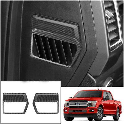 Inner Dash Side Air Vent Outlet Cover Trim For Ford F150 2015-2020 Carbon Fiber