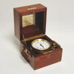 VINTAGE IMHOF SWISS EXECUTIVE BRASS GIMBAL CLOCK, SPECIMEN WOOD CASE