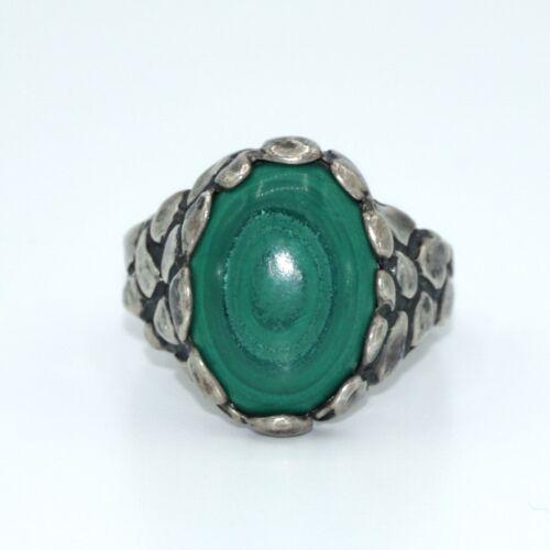 VTG Sterling Silver & Green Malachite Size 8.5 Ring! Nice! 65