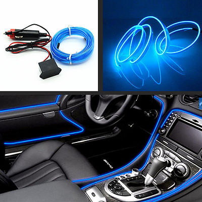 Car Neon Lamp 6.5Ft EL Wire Blue Cold Light Trim Atmosphere Fluorescent Strip