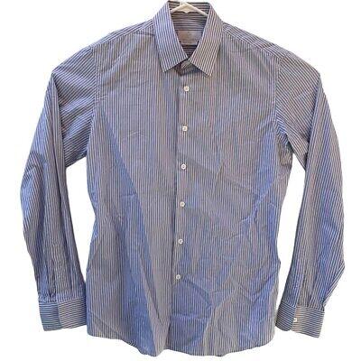 Prada Milano Mens Size 41/16 Blue White Striped Button Up Long Sleeve Shirt