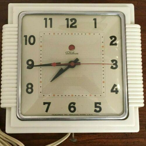 VINTAGE TELECHRON ELECTRIC WALL CLOCK 2H15S KITCHENMATE WHITE 1940