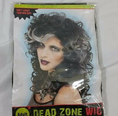 Adult Halloween Woman Costume Wig Dead Zone Black Curly Witch Zombie Dress Up - Dead Witch Costume
