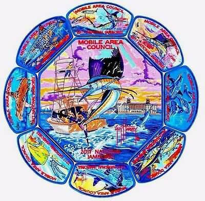 MOBILE AREA COUNCIL 2017 SCOUT Jamboree OA 322 9-PATCH SET GUY HARVEY 450 MADE!!