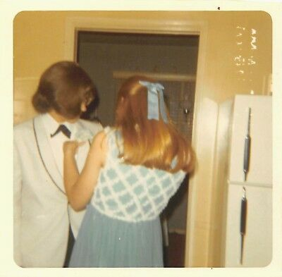 Boys Boutonniere (VTG Photo HIGH SCHOOL PROM WOMAN PINS BOUTONNIERE on LONG HAIR BOY YOUNG MAN)