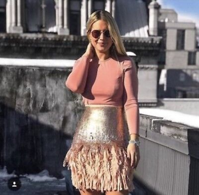 Zara New FW17 Contrasting Sequinned Mini Skirt Size S NWT