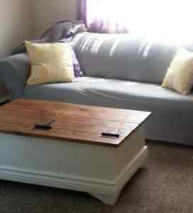 Custom Chest Style Coffee Table with Rustic Wood Top