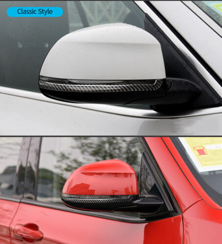 Carbon Fiber Rearview Mirror Decor Strips Sticker Cover For BMW X4 F26 2014-2017