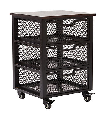 Garret Black 3 Drawer Rolling Cart w/Espresso Wood Top, Fully Assembled. Cart