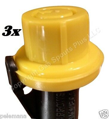 3-PK BLITZ YELLOW SPOUT CAPS FITS self-venting gas can spouts SPOUT NOT INCLUDED