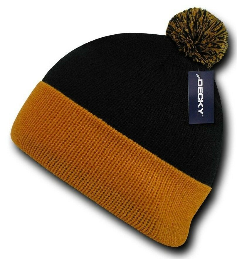 Gold Pom Pom Ski Snowboard Winter Skull Warm Cuffed Long Knit Beanie Hat Black