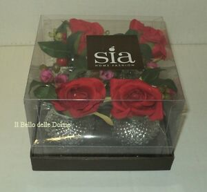 SIA Home Fashion Set 4 jars silver with flowers bouquet and pink canned