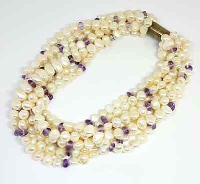 Kiki McDonough Baroque Pearl and Amethyst Bead Torsade Necklace