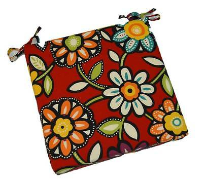 Outdoor Red Black Yellow Contemporary Floral Foam Chair Cushion, Choose Size Floral Chair Cushion