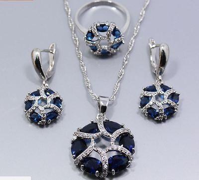 Schmuckset 3tlg Sterling Silber 925 Ring Gr.58 (18,1 mm) Blau Zirkonia NEU
