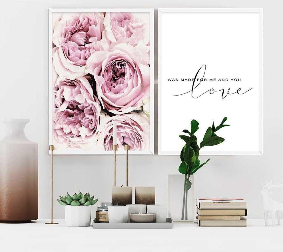 Scandinavian Poster Quotes Nordic Flower Rose Minimalist Wall Art Canvas Print