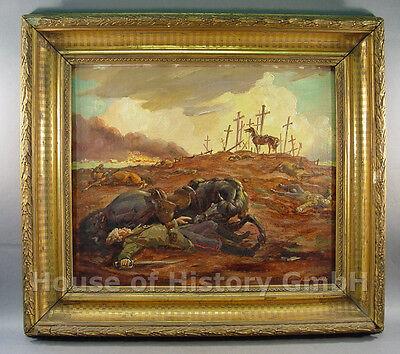 "105452, Ölgemälde Schlachtfeld ""Nach dem Angriff der Kuban Kosaken"", G. Maschke"