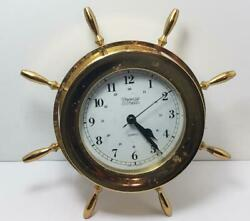 CLOCK-BRASS-SHIPS-WEEMS & PLATH-WALL HANGING-GERMANY-QUARTZ-NAUTICAL