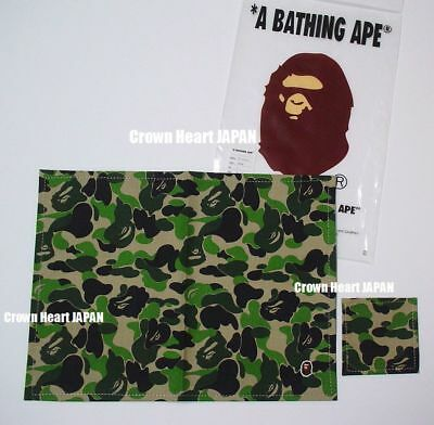 A Bathing Ape ABC CAMO PLACE MAT Placemat & Coaster Set GREEN Auth fr BAPE Japan