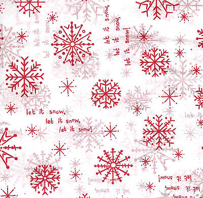 Let It Snow ~ RED Snowflakes on White Tissue Paper # 731 ~ 10 Large Sheets  - Red Snowflakes
