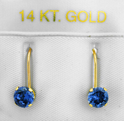 TANZANITE 1.12 Cts DANGLING EARRINGS 14K YELLOW GOLD * New With Tag *