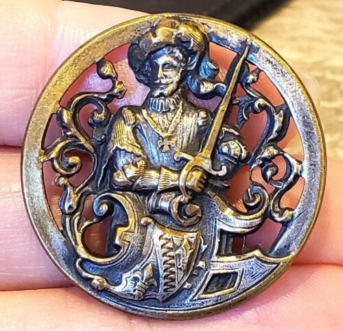 Antique Pierced Metal Picture Button…King Henry of Navarre …Sword, Maltese Cross