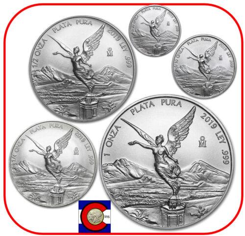 2019 Mexico BU Silver Libertad 5 Coin Set (1/20 1/10 1/4 1/2 & 1oz) in capsules