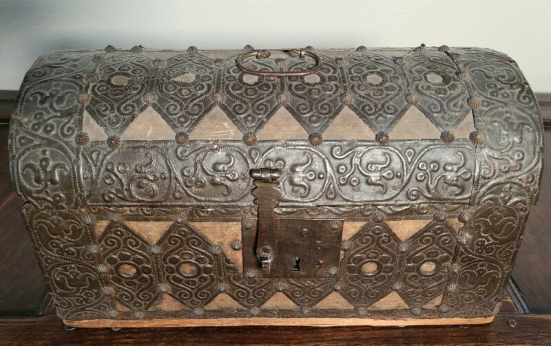 Antique 17th Century Italian Dome Casket Coffer Money Box Repousse Metal Chest