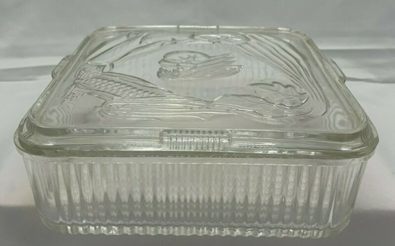"Vintage Large 8"" Square Federal Glass Ribbed Refrigerator Dish With Vegetables"