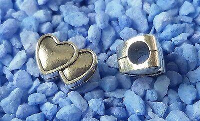 2 Doppel Herz Beads Großloch Perlen Paracord Armband Großlochperlen H01
