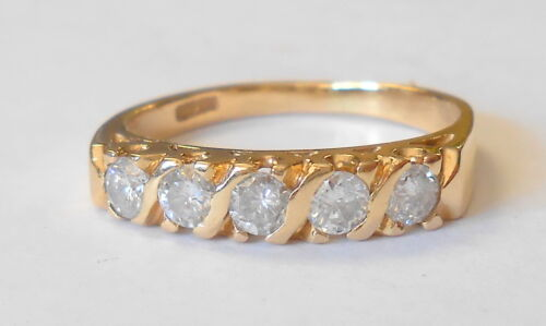 Estate 14K Yellow Gold 3mm 5 Diamond Wedding Band Ring Size 7.5 Stackable