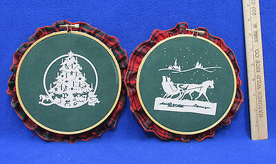Christmas Wall Hanging Handcrafted Screen Print Sleigh & Tree Scenes Lot of 2 - Christmas Wall Scenes