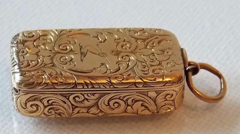 EXTREMELY RARE  VICTORIAN 15K YELLOW GOLD COMBINATION VESTA CASE/PILL BOXC.1857