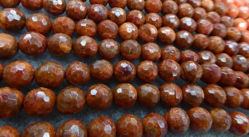 """Natural Untreated Red Sponge Coral Faceted Round 8mm Gemstone Beads 15 1/2"""" Std"""