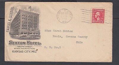 Usa 1920 Sexton Hotel Advertising Cover Kansas City Missouri To Xenia Ohio