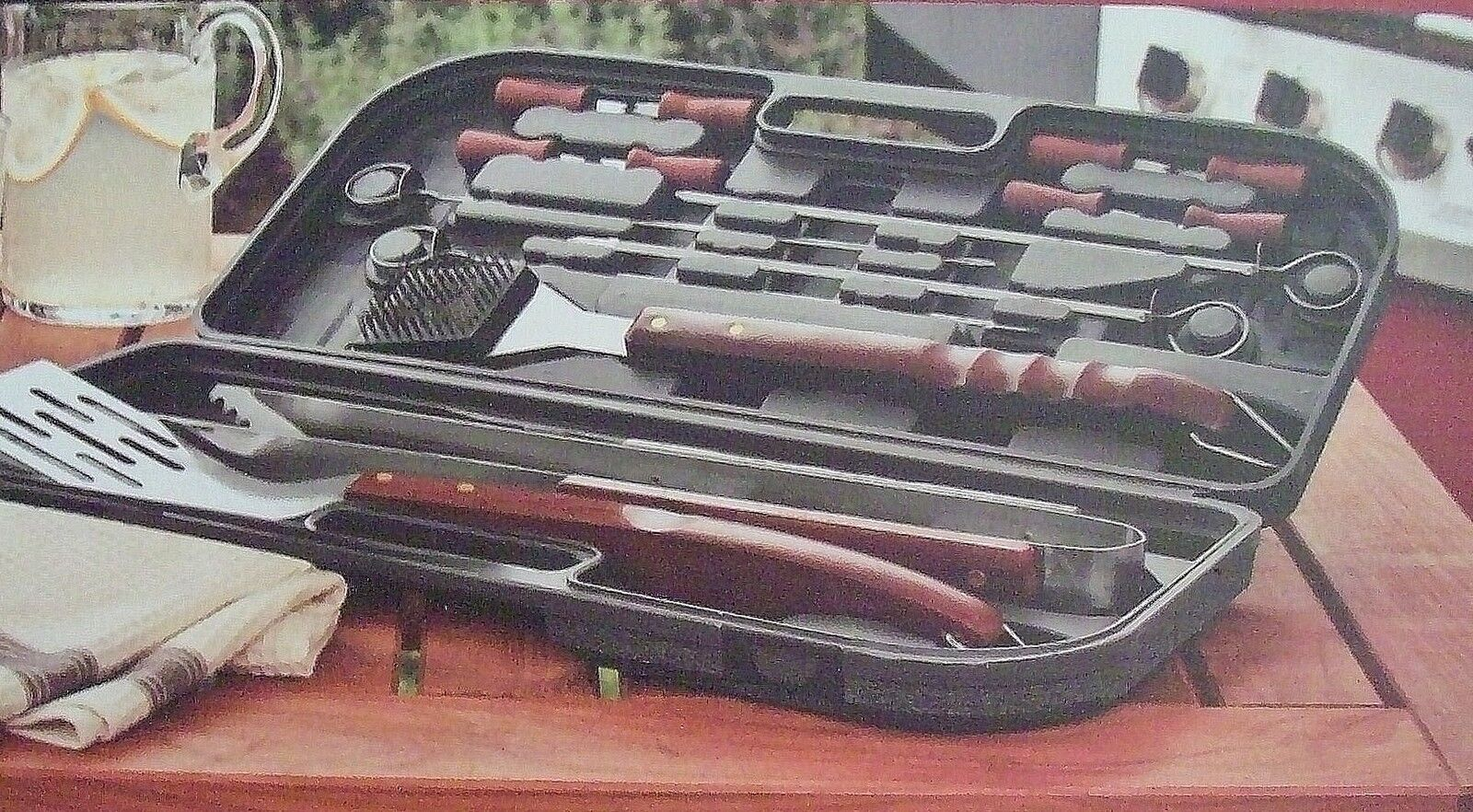 Chefmate 16 Piece Bbq Tool Set With Case Stainless Steel Wood Handle Barbecue